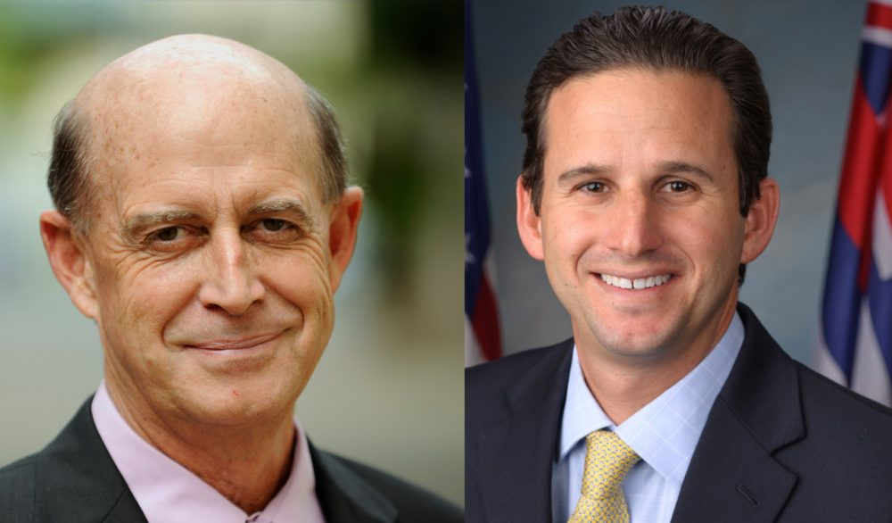 Republican candidate, Campbell Cavasso (L.) and Senator Brain Schatz of Hawaii (R.)