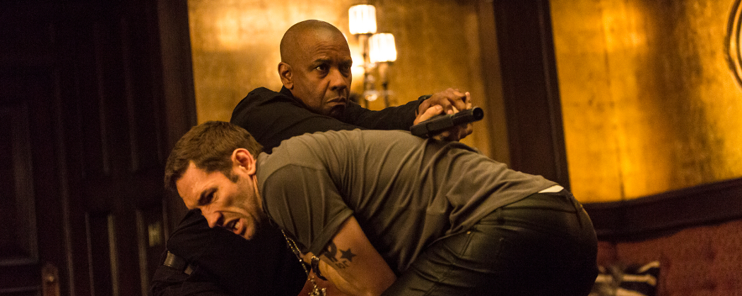 """Denzel Washington and Nash Edgerton appear in a scene from """"The Equalizer"""" set in Boston. (Scott Garfield/AP, Sony, Columbia Pictures)"""