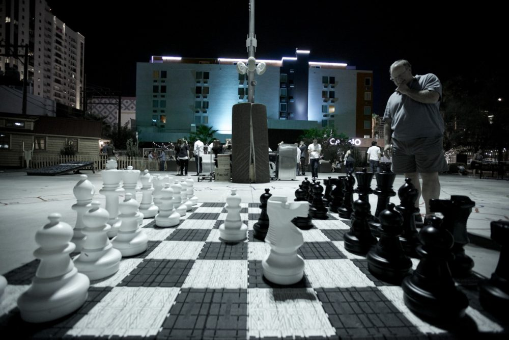 An outdoor chess board at the Golden Spike, a rehabilitated hotel in Tony Hsieh's innovation city in downtown Las Vegas. (Vjeran Pavic/Recode)