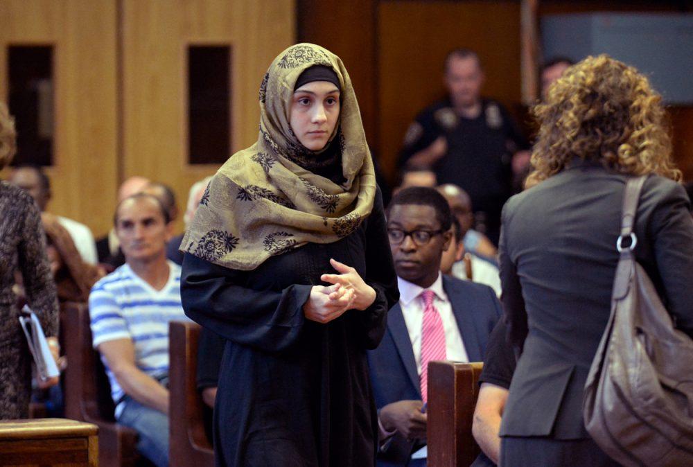 Ailina Tsarnaeva, sister of Boston Marathon bombing suspect Dzhokhar Tsarnaev, makes her appearance in Manhattan Criminal Court Tuesday.  (Steven Hirsch/New York Post/Pool via AP)