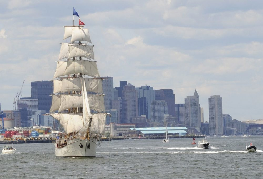 The barque Europa, of the Netherlands, departs Boston following Sail Boston in July 2009.  (Lisa Poole/AP)
