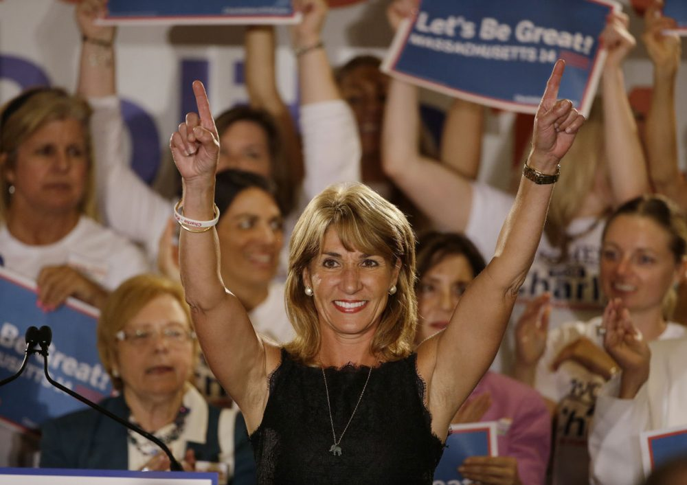 Karyn Polito, Republican candidate for lieutenant governor, speaks to supporters during her primary election night rally earlier this month. (Stephan Savoia/AP)