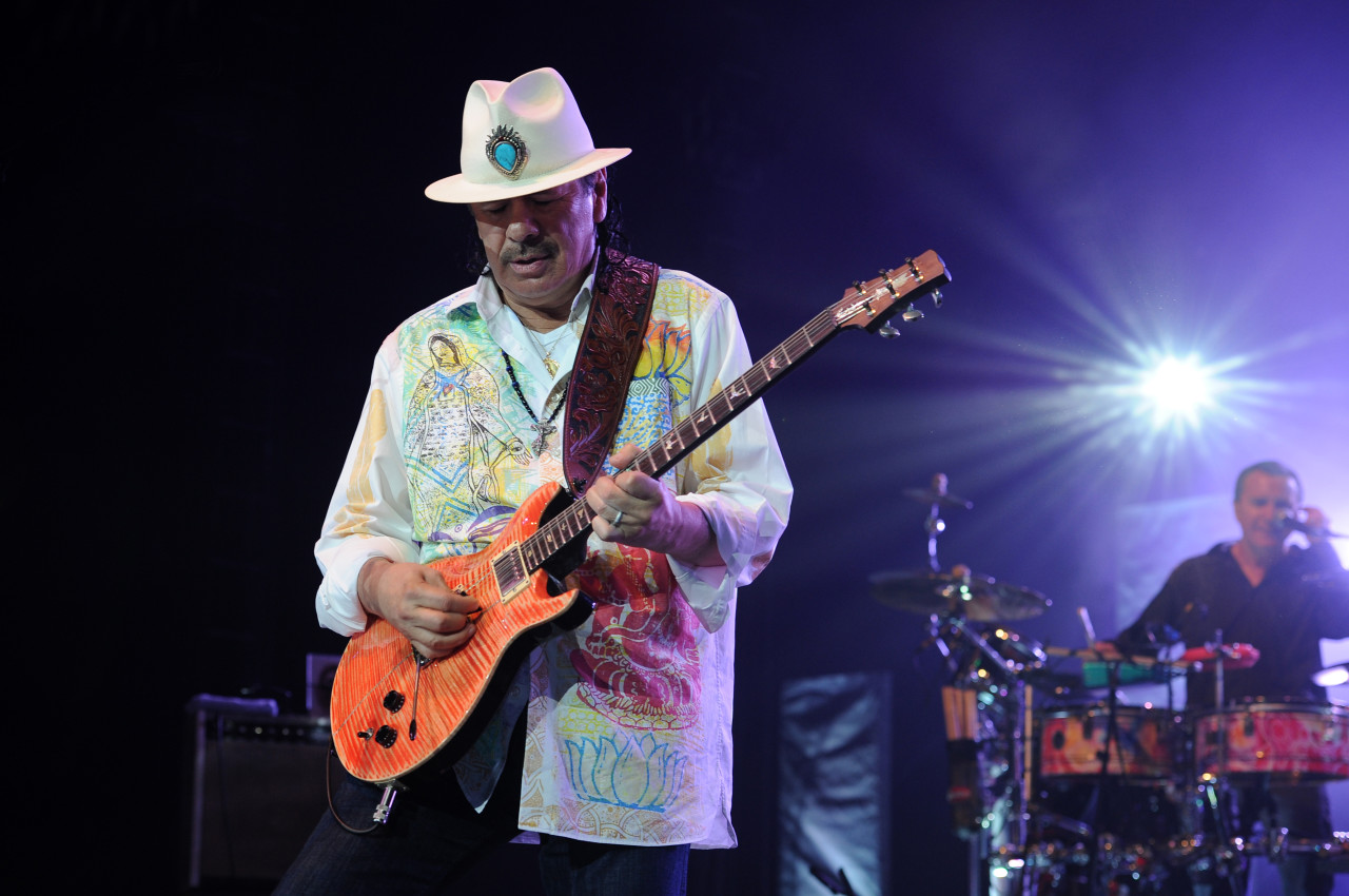 Carlos Santana performs at the Seminole Hotel and Casinos Hard Rock Live on May 2, 2014 in Hollywood, Florida. (Photo by Jeff Daly/Invision/AP)