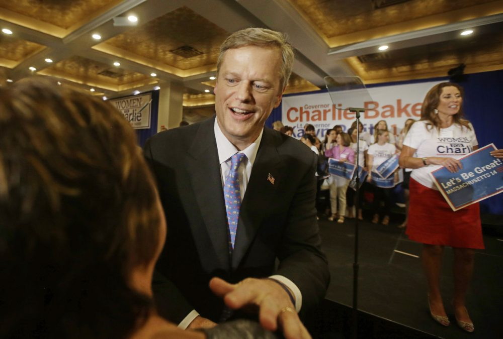 Charlie Baker greets supporters after delivering his primary night speech. (Stephan Savoia/AP)