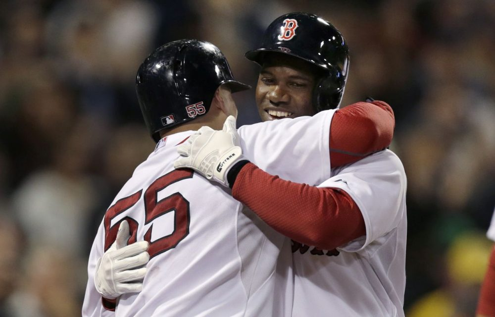 Boston Red Sox's Rusney Castillo, right, is congratulated by Christian Vazquez after his three-run home run off Tampa Bay Rays relief pitcher Steven Geltz during the third inning of Thursday night's game at Fenway Park.  (Charles Krupa/AP)