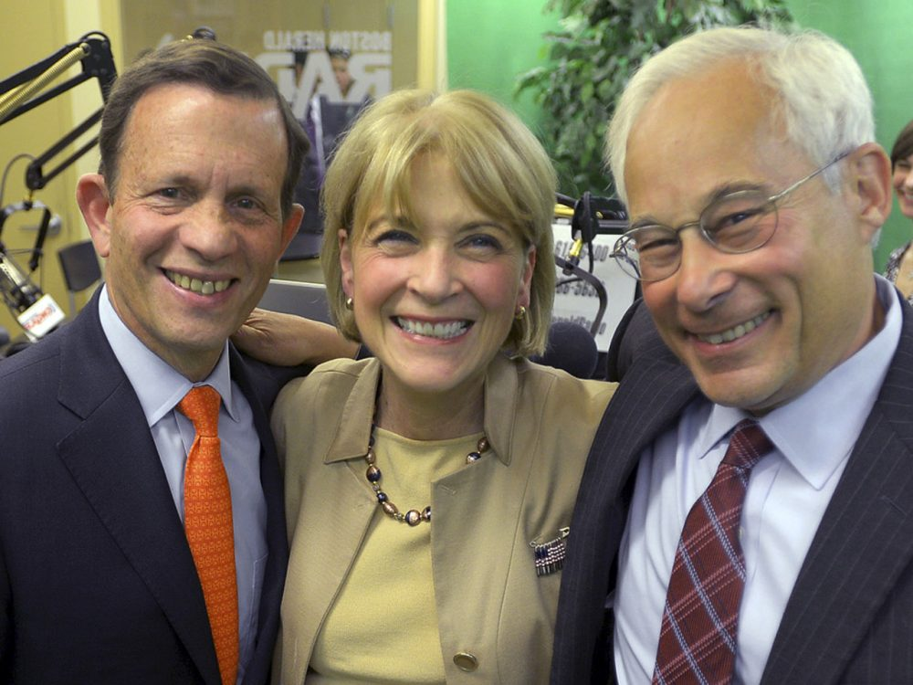 Democratic gubernatorial candidates Steven Grossman, left, Martha Coakley, center, and Donald Berwick pose for a photo after a debate at the Boston Herald Radio Studio, Monday, Aug. 25, 2014, in Boston. The three will face off for their party's nomination in the Sept. 9 primary. (AP)
