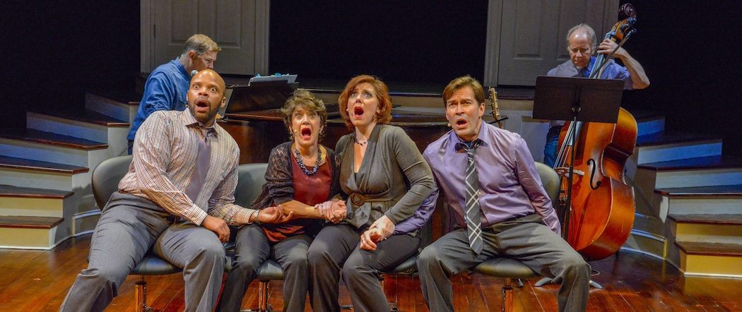 """The cast of """"Closer Than Ever"""" at the New Repertory Theatre.  (Andrew Brilliant/Brilliant Pictures)"""