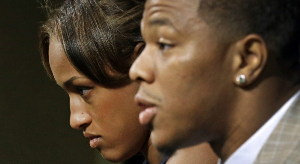 """Suzanne Dubus: """"While the public is confused about why Janay has rushed to [Rice's] defense and minimized the abuse that we all witnessed on that video, the outrage should be directed at the systems that failed her and all victims."""" Pictured: The NFL's Ravens announced on Monday, September 8, that they have  terminated Ray Rice's contract hours after TMZ.com posted video of the embattled running back punching his then-fiancée during an altercation at an Atlantic City hotel in February. (AP)"""