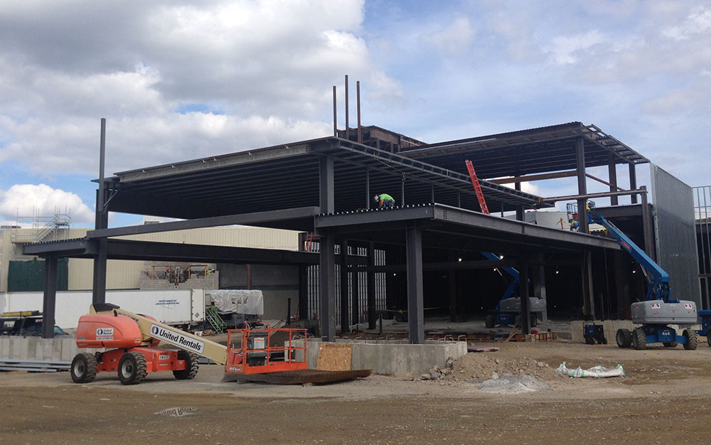Construction of the Plainridge Park Casino in Plainville (Bruce Gellerman/WBUR)