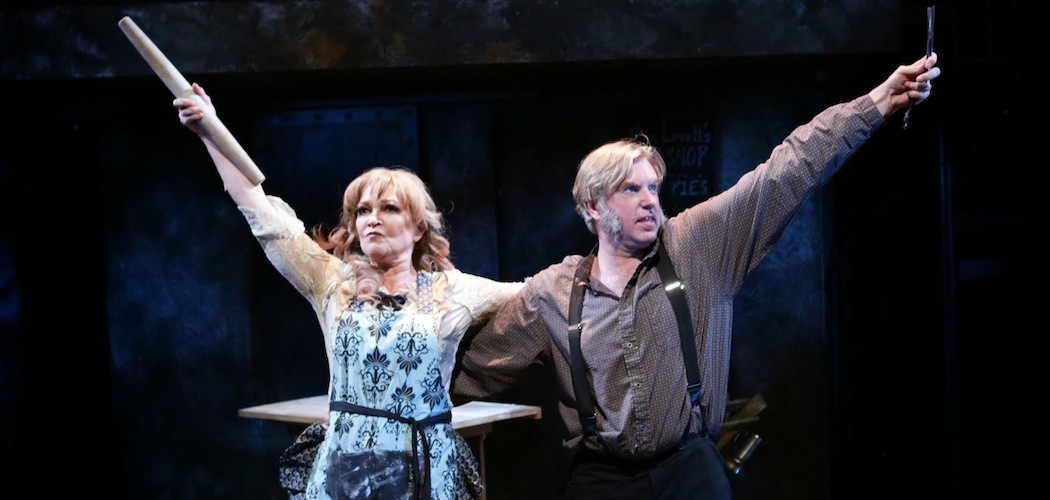 """Amelia Broome and Christopher Chew starring in """"Sweeney Todd"""" at the Lyric Stage Company of Boston. (Mark S. Howard)"""