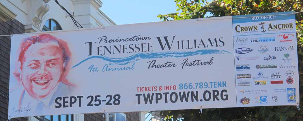 Banner advertising annual Tennessee Williams theater festival (Andrea Shea/WBUR)