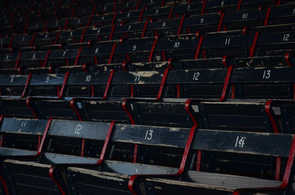 Empty grandstands at Fenway (Sharon Brody/WBUR)