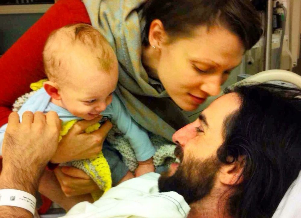 Heidi, Ben, and Oliver Johnston after transplant surgery. (Courtesy)