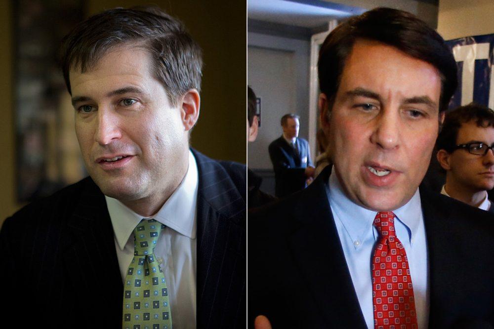 Democratic nominee Seth Moulton, left, and Republican nominee Richard Tisei (Jesse Costa/WBUR, Elise Amendola/AP)