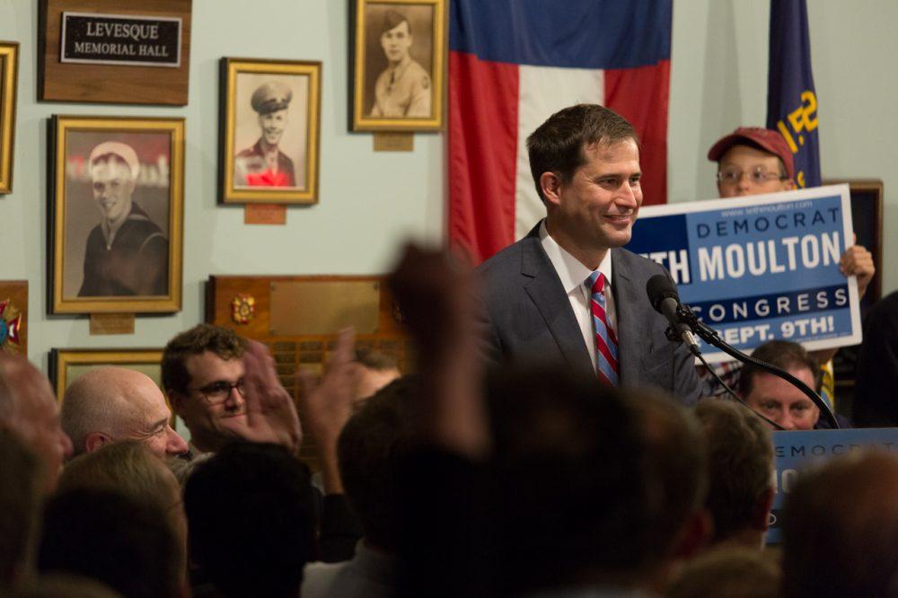 Seth Moulton delivers his victory speech Tuesday night. (Joe Spurr/WBUR)