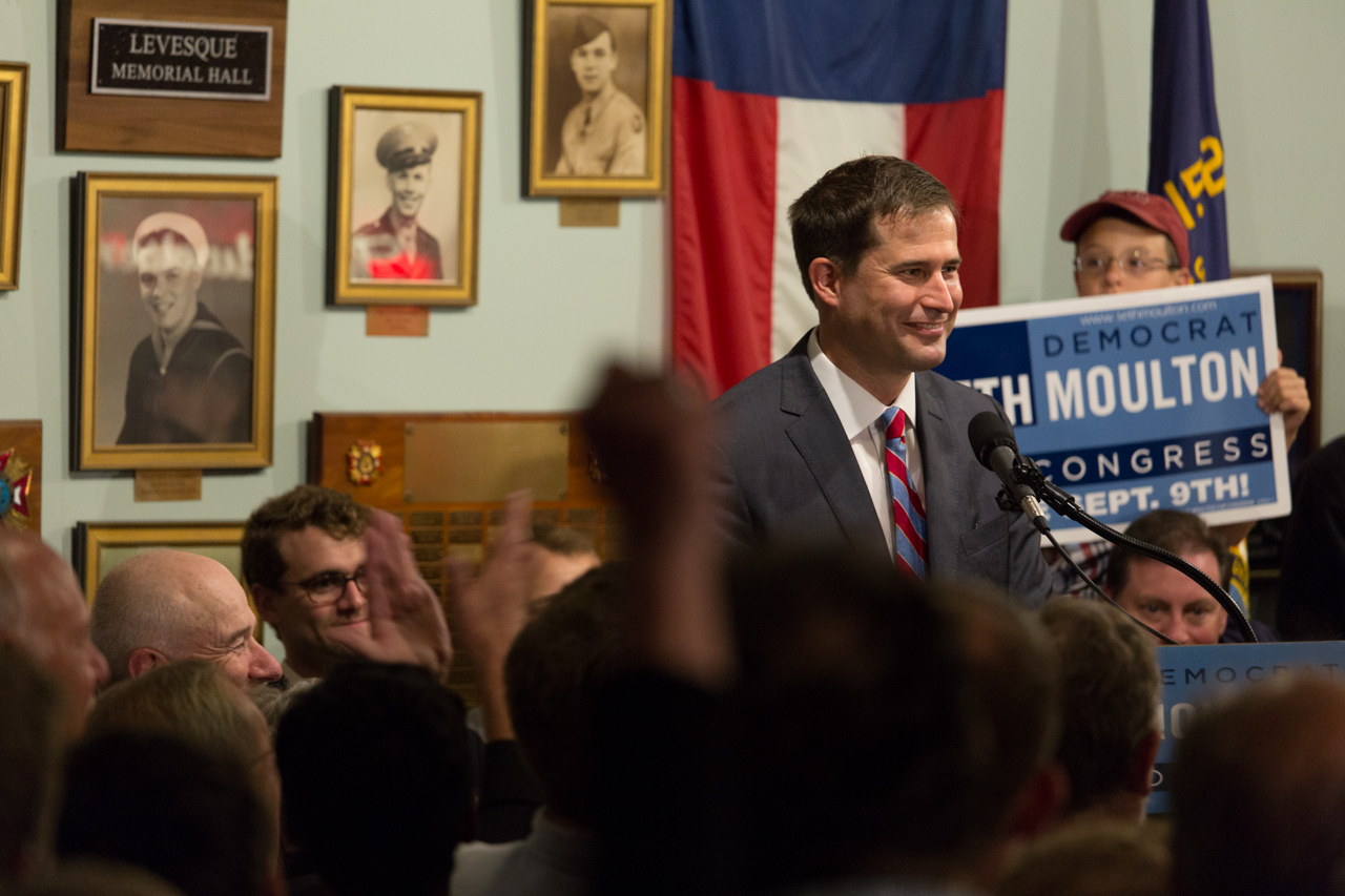 Seth Moulton delivers his victory speech Tuesday night. (Joe Spurr/WBUR)