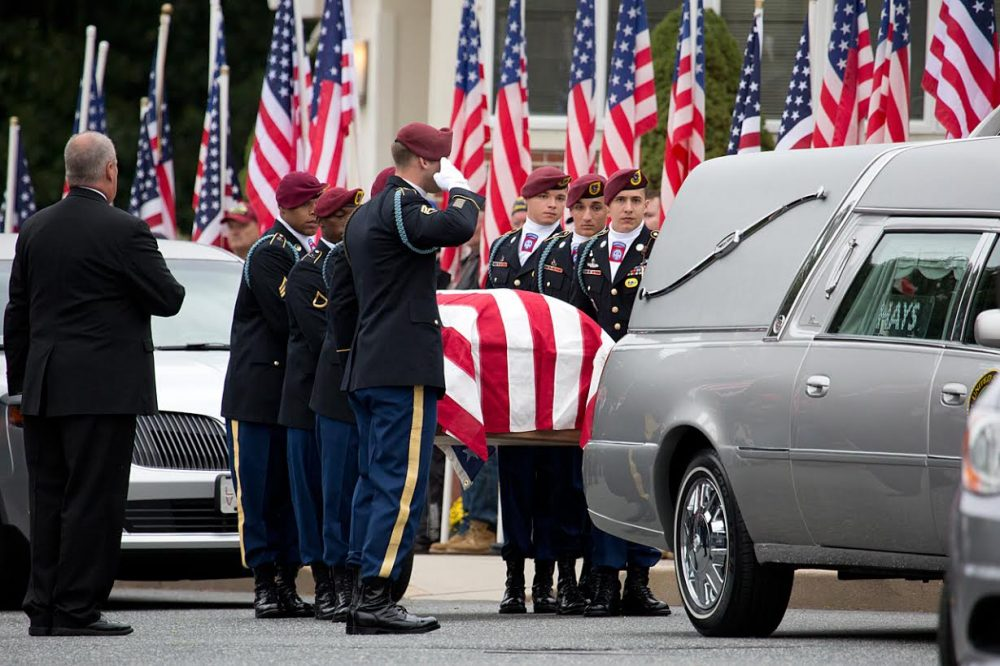 Spc. Brian Arsenault is being buried with full military honors. (Jesse Costa/WBUR)