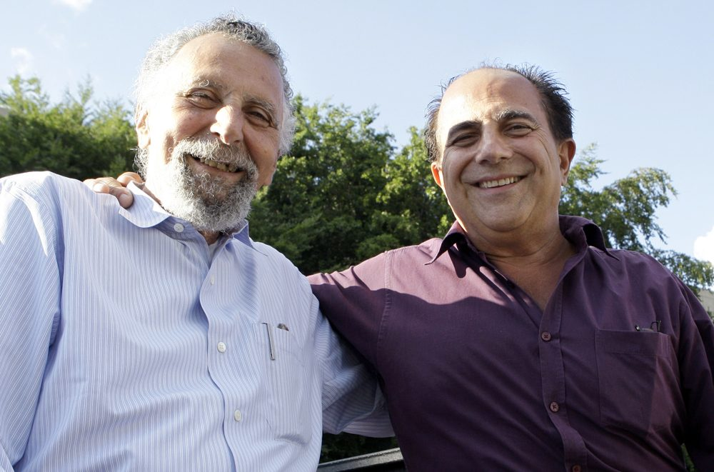 Tom Magliozzi, left, and Ray Magliozzi pose together in Cambridge in 2008. (Charles Krupa/AP)