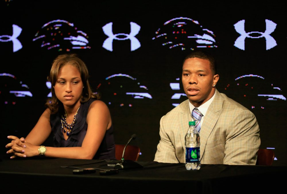 Ray Rice, shown with his wife Janay in May, is off the Baltimore Ravens' roster and suspended indefinitely from the NFL after the release of new video from his domestic violence case. (Patrick Semansky/AP)
