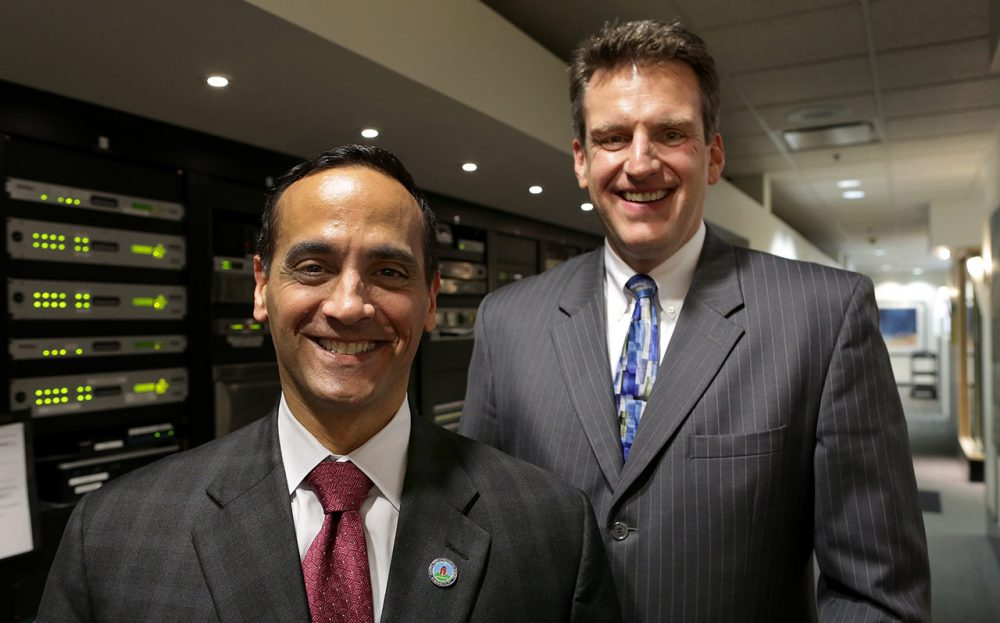 Somerville Mayor Joe Curtatone, left, and Chelsea City Manager Jay Ash, in the WBUR studios (Robin Lubbock/WBUR)