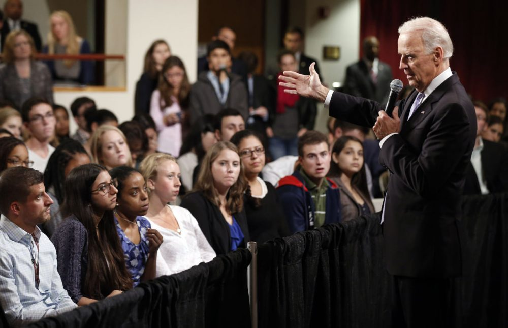 Vice President Joe Biden answers questions from students at Harvard University's Kennedy School of Government in Cambridge, Mass. Thursday. (Winslow Townson/AP)