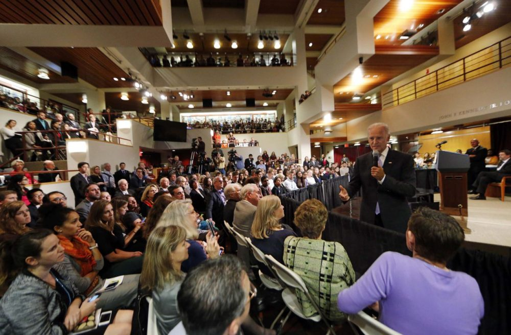 Vice President Joe Biden speaks to a packed room of students, faculty and staff at Harvard University's Kennedy School of Government in Cambridge, Mass. (Winslow Townson/AP)