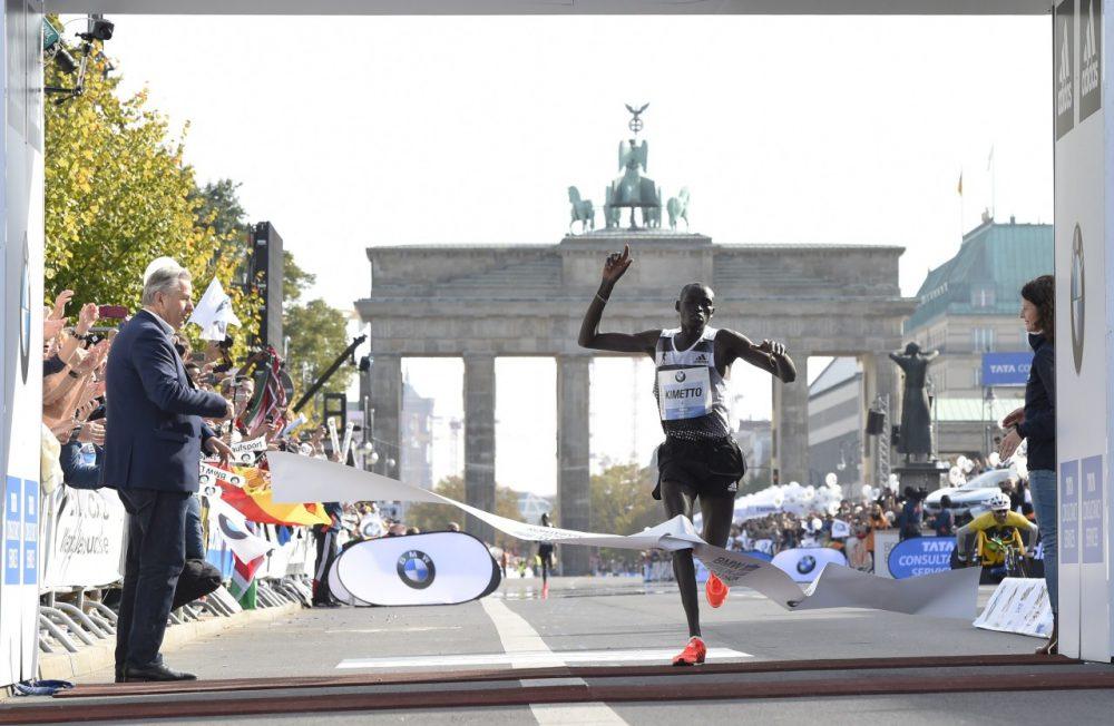 Kenya's Dennis Kimetto finished the Berlin Marathon in 2:2:57, a world record. (Tobis Schwarz /Getty Images)
