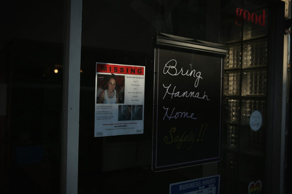A flyer about the disappearance of Hannah Graham is seen October 2, 2014 in Charlottesville, Virginia. (Alex Wong/Getty Images)