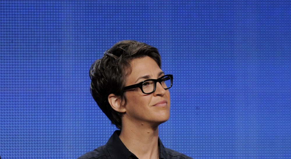 """Nick Paleologos: """"Rachel Maddow knows how to tell the whole story, which is what true journalism is all about."""" Pictured: Rachel Maddow, host of The Rachel Maddow Show. (Chris Pizzello/AP)"""