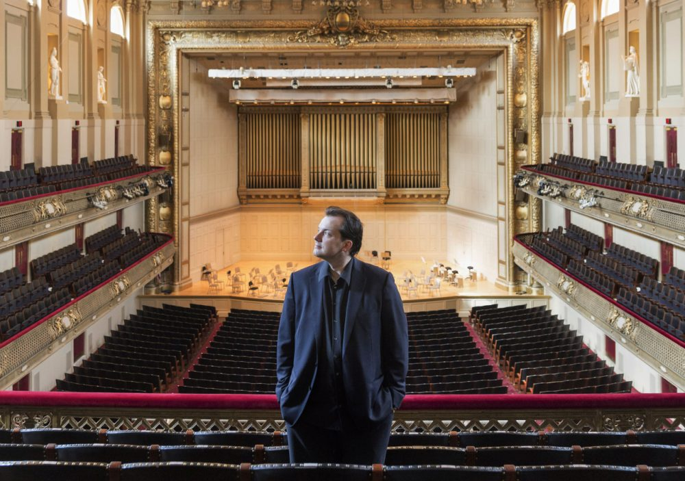 Andris Nelsons poses for a photo at Symphony Hall in Boston. (Boston Symphony Orchestra, Marco Borggreve/AP)