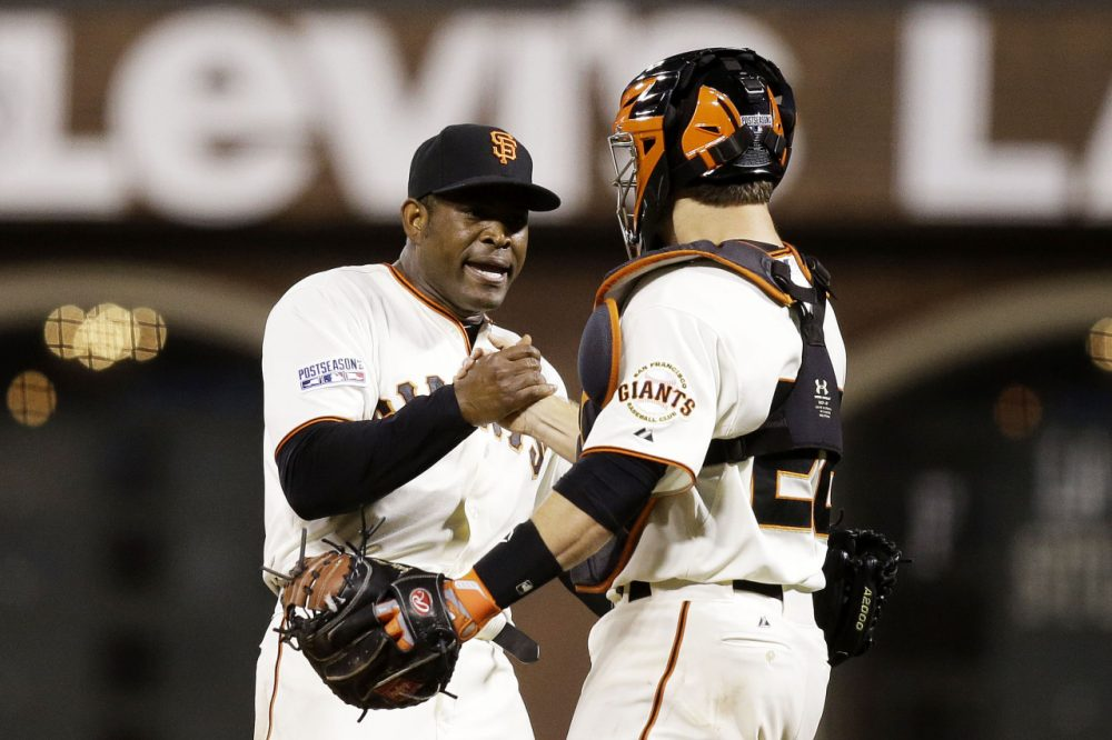 The San Francisco Giants will face the St. Louis Cardinals in the National League Championship series. Santiago Casilla #46 and Buster Posey #28 are pictured here celebrating the Giants' win against the Washington Nationals during National League Division Series at AT&T Park on October 7, 2014 in San Francisco, California. (Ezra Shaw/Getty Images)