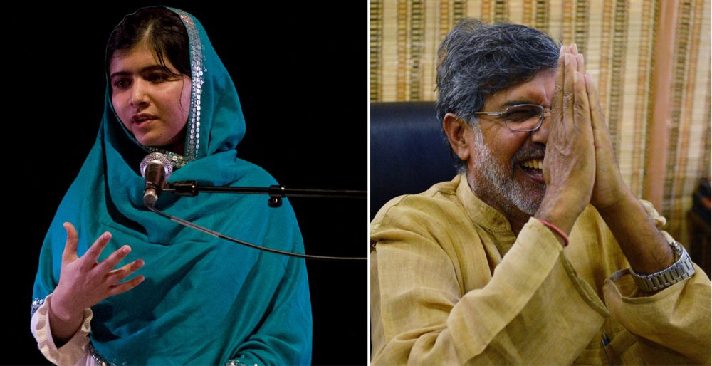 Malala Yousafzai (L) and Kailash Satyarthi (R) have been awarded the Nobel Peace Prize for their work advocating for children's rights. (Justin Tallis/AFP/Getty Images ;Chandan Khanna/AFP/Getty Images)