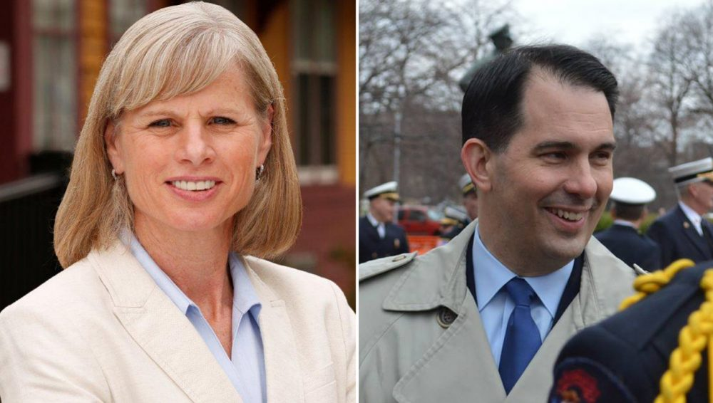 Democrat Mary Burke is running against incumbent Republican Governor Scott Walker in a tightly contested race in Wisconsin. (burkeforwisconsin.com; Scott Walker/Facebook)