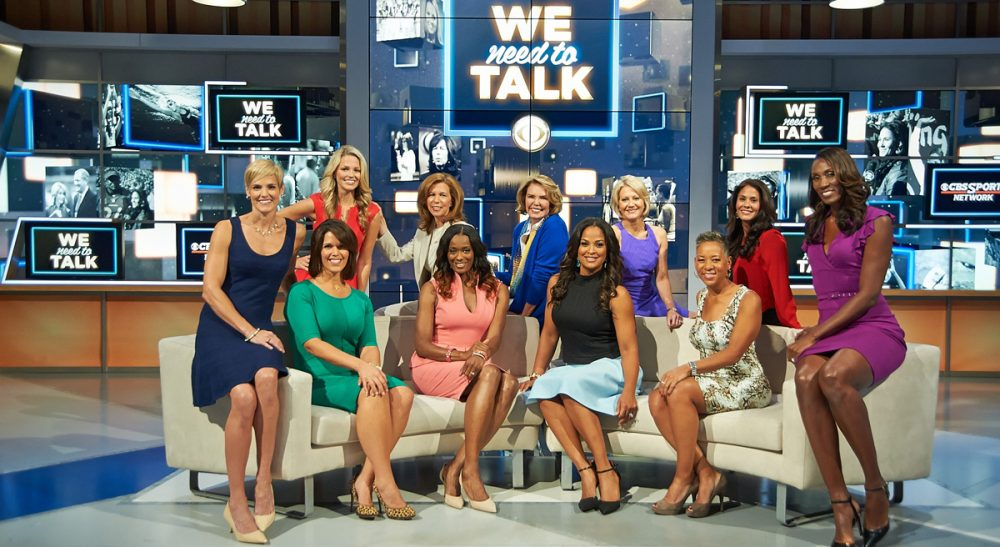 "Andrea Kremer: ""Once...stuck in support roles, serving as warm-up acts for male analysts, female sports journalists today are recognized for their knowledge and opinions about the teams and the players they cover."" Pictured: Eleven of the 12 featured members of 'We Need To Talk.' Front (L to R): Dara Torres, Dana Jacobson, Swin Cash, Laila Ali, Katrina Adams. Back (L to R): Allie LaForce, Amy Trask, Lesley Visser, Andrea Kremer, Tracy Wolfson and Lisa Leslie. (CBS Sports/Courtesy)"