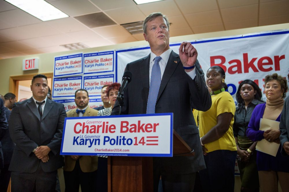 Republican governor's candidate Charlie Baker announces his urban agenda at his headquarters in Roxbury on Oct. 15. (Jesse Costa/WBUR)