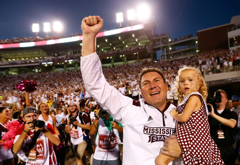 Some fans were calling for Mississippi State coach Dan Mullen's job last season. This year the coach has had plenty of reason to celebrate. (Kevin C. Cox/Getty Images)