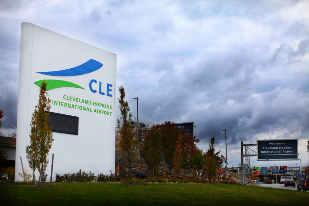A sign marks the entrance to Cleveland Hopkins Airport on October 15, 2014 in Cleveland, Ohio. Recently diagnosed Ebola patient, health care worker Amber Vinson, traveled on Frontier Airlines from Dallas to Cleveland with a low fever on October 10, and returned to Dallas on October 13. (Michael Francis McElroy/Getty Images)