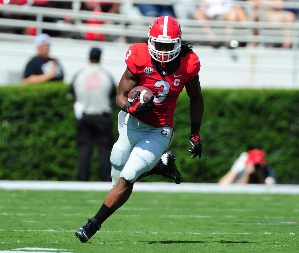 abb320057 Georgia running back Todd Gurley has been suspended indefinitely while he s  investigated for allegedly accepting cash