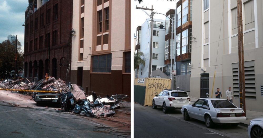 In this before-and-after composite image, (Left) Cars are seen covered in bricks from a falling building facade following the Loma Prieta earthquake on October 17, 1989 in San Francisco, California. (C.E. Meyer/U.S. Geological Survey Photographic Library via Getty Images)