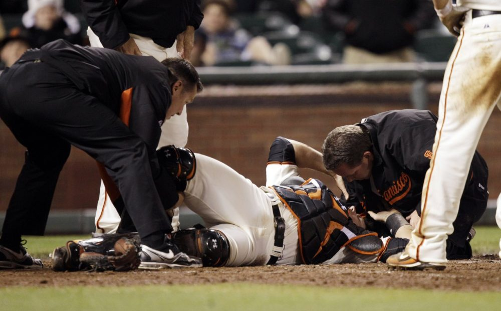 The 2011 collision left San Francisco Giants catcher Buster Posey with a broken leg and damage to his ankle sparked the conversation that eventually led to the adoption of Rule 7.13 this season. (Marcio Jose Sanchez/AP)
