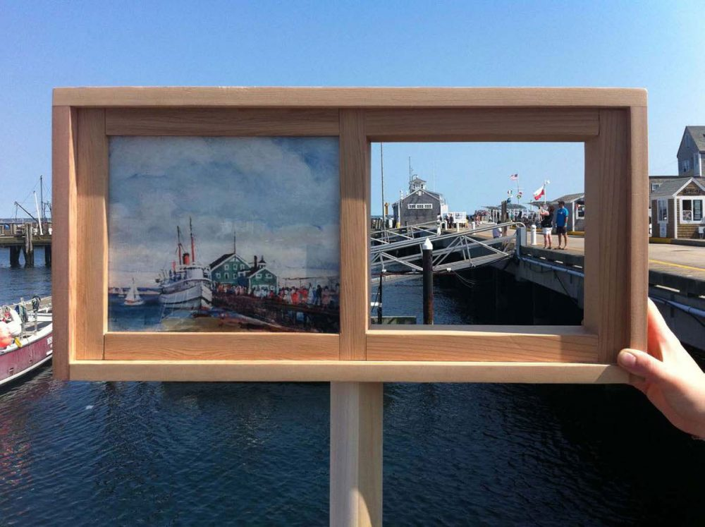 Macmillan Pier and ''The Steel Pier Arriving' by Nancy M. Ferguson.  (Courtesy of PAAM)