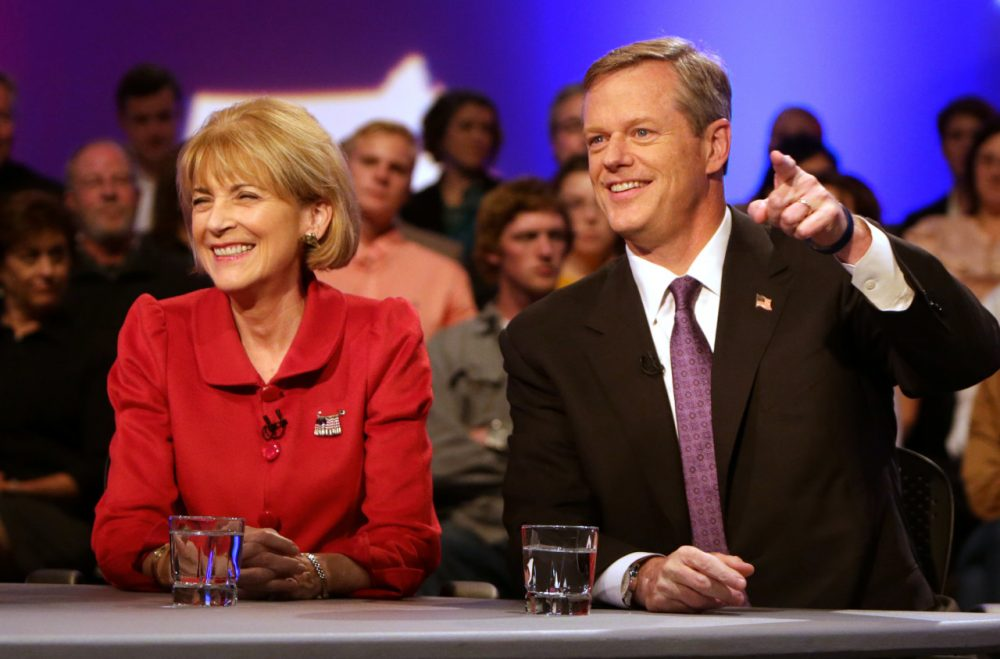 Massachusetts gubernatorial candidates Democrat Martha Coakley, left, and Republican Charlie Baker (Barry Chin, The Boston Globe, Pool/AP)