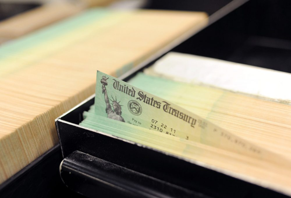 Trays of social security checks are pictured at the U.S. Treasury printing facility on July 18, 2011 in Philadelphia, Pennsylvania. (William Thomas Cain/Getty Images)