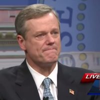 In this screen grab, Republican Charlie Baker speaks during a gubernatorial debate with Democrat Martha Coakley, Tuesday, October 28, 2014. (WCVB/youtube)