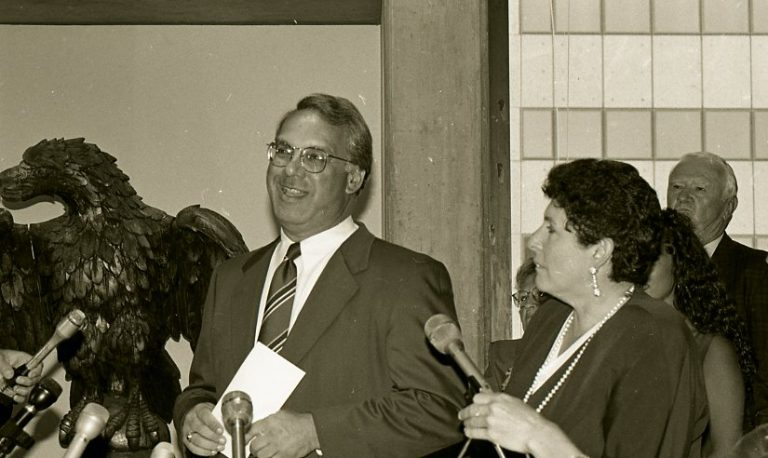 Thomas M. Menino smiles during a July 12, 1993 press conference after he was named Boston's acting mayor. (Courtesy of City of Boston Archives)