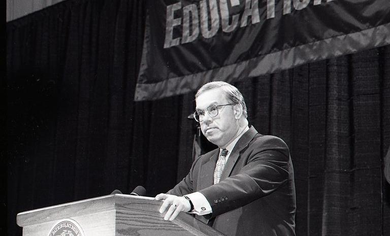 Menino at his 1996 State of the City address at Jeremiah Burke High School in Dorchester. (Courtesy of City of Boston Archives)