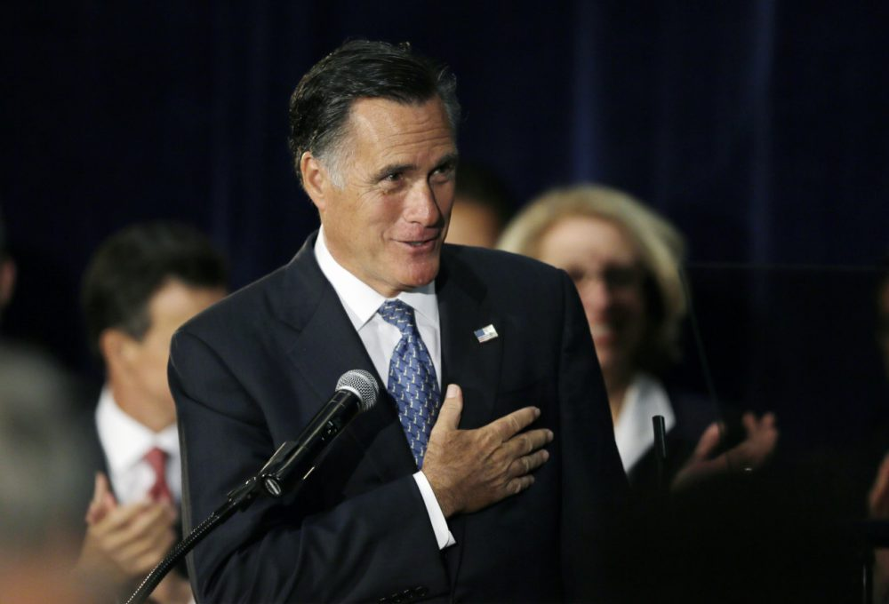 Mitt Romney at a rally for Michigan Senate candidate Terri Lynn Land earlier this month. (Carlos Osorio/AP)