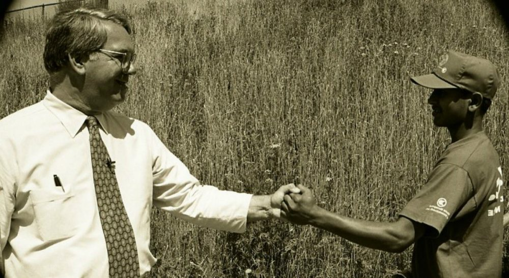 """Tiziana Dearing: """"Mayor Menino loved Boston. Everyone says it. But to know him, to work with him, was to discover layers upon layers of his love for the job, the city and its people."""" Pictured: The late Mayor of Boston, Tom Menino, greeting a youth summer worker on July 13, 1993."""