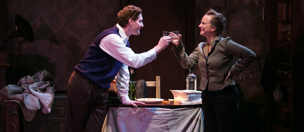 "Ed Hoopman and Laura Latreille in ""Dear Elizabeth"" at the Lyric Stage Company of Boston. (Mark S. Howard)"