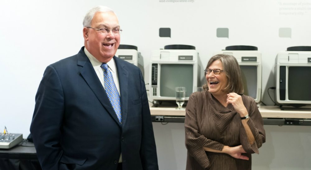"Renee Loth: ""Whether we saw each other weekly or after an absence of six months, nearly his first words of greeting were invariably about the tree. How's that tree doin'? Tree good? How's the tree? Pictured: Mayor Tom Menino and the author, sharing a laugh about her maple tree, May 22, 2012. (Boston Society of Architects/flickr)"